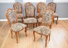 A SET OF SIX LOUIS XV STYLE TIGER PATTERNED DINING CHAIRS
