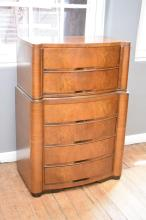 A TALL ART DECO CHEST OF DRAWERS