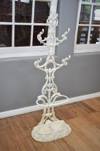 A VICTORIAN WHITE PAINTED CAST IRON HALL STAND