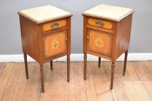 A PAIR OF EMPIRE STYLE INLAID MARBLE TOP BESIDE CABINETS