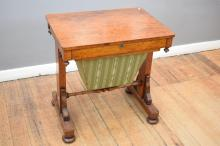A VICTORIAN CEDAR SINGLE DRAWER SEWING TABLE