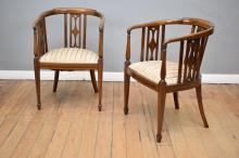 A PAIR OF SHERATON REVIVAL U-BACK TIMBER CHAIRS