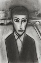 ROBERT DICKERSON (1924-2015) Portrait  charcoal on paper