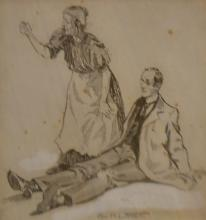 GEORGE W. LAMBERT, MAN AND WOMAN, INK ON PAPER, 16.5 X 16 CM