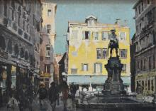 CHARLES BUSH, THE CITY SQUARE AND GOLDON'S MONUMENT, OIL ON BOARD, 54 X 75 CM