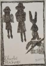 § CHARLES BLACKMAN (born 1928) The Artist Drawing Schoolgirls and Rabbit 2013 ink