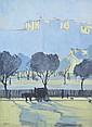 FREDERICK WILLIAM LEIST (1878-1945) Park Scene gouache