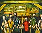 PRO HART (1928-2006) Singers at the Southern Cross oil on board