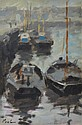 HAYWARD VEAL (1913-1968) Fishing Boats, Dieppe oil on canvas