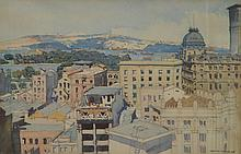 JOHN D. MOORE (1888-1958) View Over The Rooftop 1926 watercolour