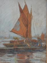 JANET CUMBRAE-STEWART, SAIL BOAT 1923, PASTEL, SIGNED AND DATED LOWER LEFT, 25.5 X 17.5CM