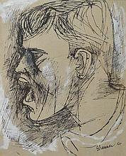 MICHAEL SHANNON, HEAD OF YOUNG MAN, 1986, PEN AND INK, 30 X 25.5 CM