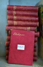 TWELVE LEATHER BOUND TRAVELLING VOLUMES OF SHAKESPEARE