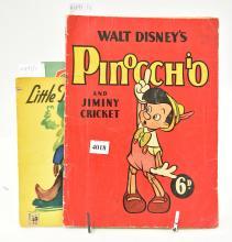 THREE VINTAGE CHILDREN'S BOOKS;THE LEAGUE OF TWELVE; WALT DISNEY'S PINOCCHIO & JIMINY CRICKET; LITTLE TALES FROM AESOP & ZOO FUN PAI.