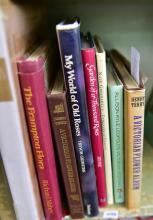 A PART SHELF OF BOOKS, INCL. A VICTORIAN FLOWER ALBUM