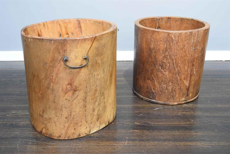 A PAIR OF TIMBER BUCKETS h50 x w50 x d50cm