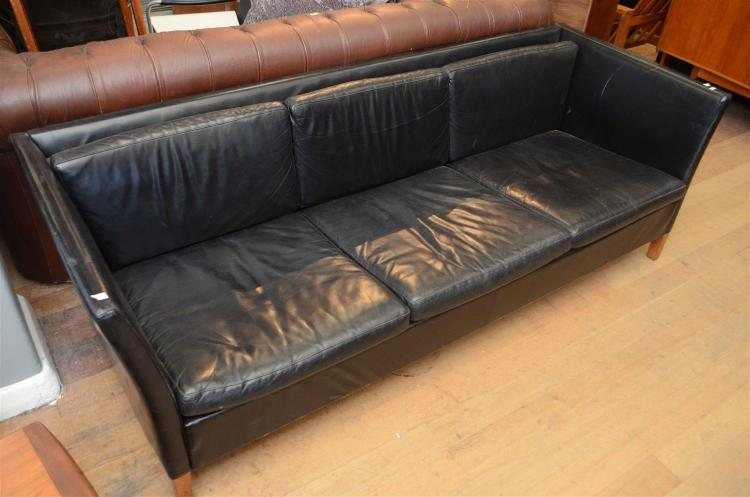 A DANISH THREE SEATER BLACK LEATHER SOFA (RE-UPHOLSTERED) h210 x w70 x d80cm