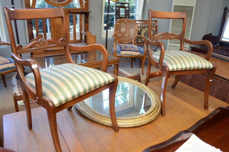 A SET OF SIX REGENCY STYLE DINING CHAIRS (TWO CARVERS)