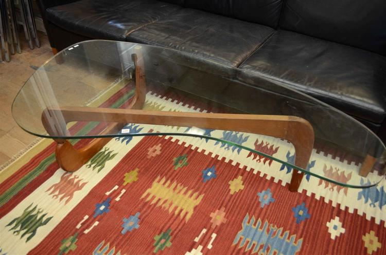 A MID CENTURY TIMBER AND GLASS NAGUCHI STYLE COFFEE TABLE (AS FOUND)