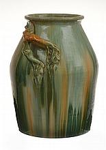 LARGE TAPERED REMUED DRIP GLAZE VASE WITH APPLIED