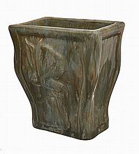 EARLY 20TH CENTURY FAIRY MOULDED RECTANGULAR VASE,