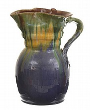 LARGE RIBBED REMUED JUG WITH MAUVE AND YELLOW