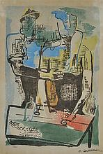 OSSIP ZADKINE (Russian/French, 1890-1967) Fête Paysanne 1960 colour lithograph and metallic dust, ed. 33/110
