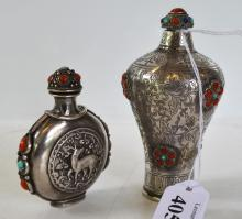 TWO SILVER TIBETAN SNUFF BOTTLES WITH APPLIED STONES