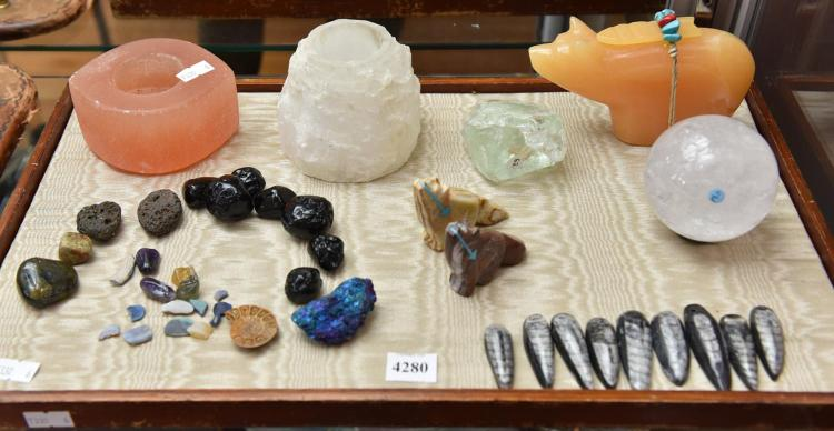 A COLLECTION OF FOSSILS, OPALS, METEORITES AND THE LIKE