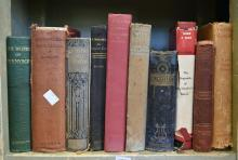 A SHELF OF VINTAGE BOOKS, INCL. 1913 EDITION OF SCOTT'S LAST EXPEDITION & THE AUSTRALIAN ABORIGINAL
