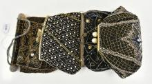FOUR 1930'S EVENING BAGS BEADED & SEQUINED (TWO HANDMADE IN FRANCE)