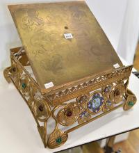 A BRASS SERMON STAND, WITH CLOISONNE AND PASTEL INSERTS