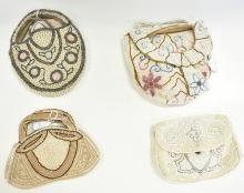 HAND BEADED EVENING BAGS CIRCA 1930S MADE IN EUROPE