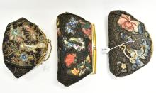 THREE SILK AND LEATHER EVENING BAGS WITH CHINOISERIE EMBROIDERY, ONE WITH FAUX JADE CIRCA 1920S