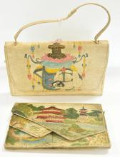 2 LEATHER EMBOSSED CHINOISERIE BAGS WITH SCENES OF JAPAN, MADE IN JAPAN CIRCA 1920