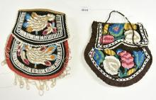 2 AMERICAN INDIAN BEADED VELVET BAGS MID TO LATE 1800S