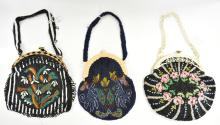 THREE ART DECO HAND BEADED BAGS IN FLORAL DESIGNS