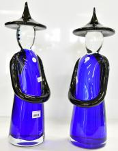 A PAIR OF VERY LARGE VINTAGE MURANO ITALIAN SOMMERSO FORMIA GLASS FIGURINES, ONE HAS LABEL, HEIGHT 38CM