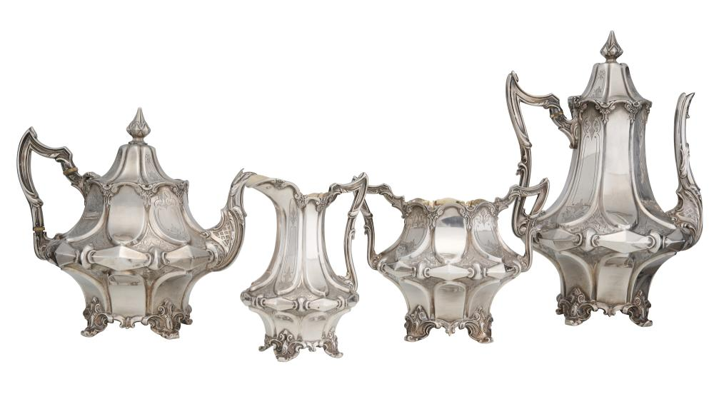 A VICTORIAN STERLING SILVER FOUR PIECE TEA AND COFFEE SERVICE BY JOSEPH ANGELL JR, LONDON, CIRCA 1849 2372gms sterling silver
