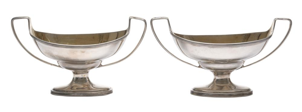 A PAIR OF GEORGE III STERLING SILVER SALT CELLARS BY SOLOMON HOUGHAM, LONDON, CIRCA 1798 152gms sterling silver