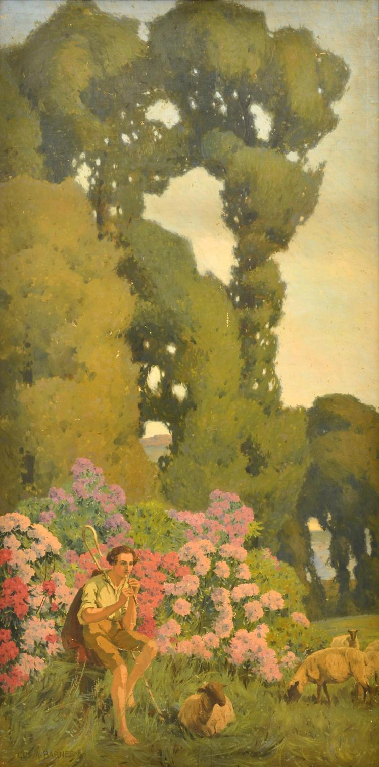 GUSTAVE A. BARNES (1877-1921) Pair of works i) The Romantic Shepherd Scene 1909 ii) Shepherd's Wife 1909 oil on canvas