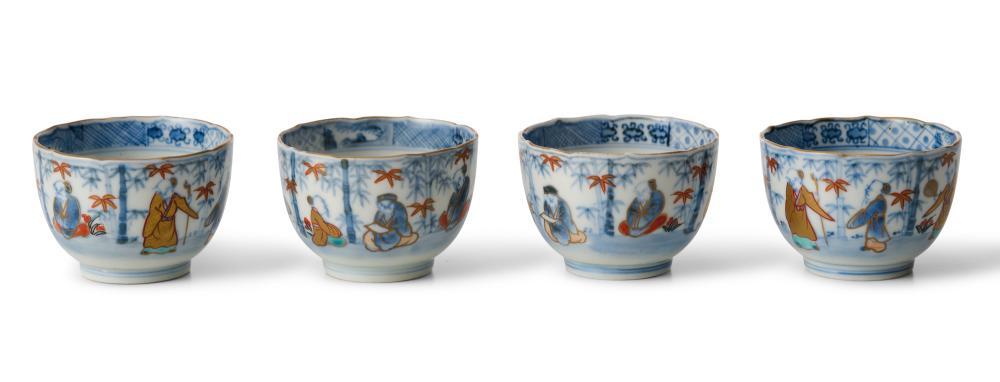 FOUR JAPANESE IMARI SAKE CUPS EDO PERIOD (1603-1868), EARLY 19TH CENTURY