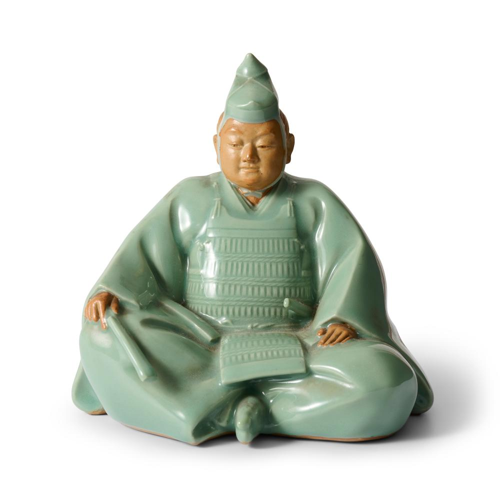 A JAPANESE STUDIO CELADON OKIMONO BY MIYANAGA TOZAN (1868-1941), CIRCA 1920