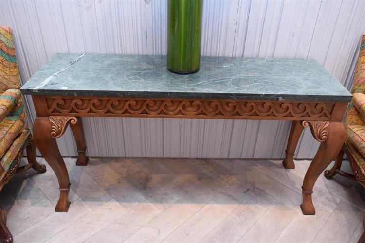 A CONTINENTAL MARBLE TOP CONSOLE TABLE 83x158x48cm
