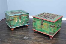 A PAIR OF INDIAN PAINTED CHESTS h45 x w58 x d58cm