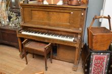 WALNUT PIANOLA WITH A BOX OF SCROLLS AND A PIANO STOOL (AS FOUND AND UNTESTED) h138 x w156 x d72cm (PLEASE NOTE: IF PURCHASED, T...