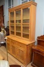 A LARGE PINE TWO SECTIONAL BOOKCASE WITH GLAZED TOP  h254 x w175 x d60cm (PLEASE NOTE: IF PURCHASED, THIS ITEM MUST BE REMOVED...