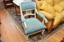 A WHITE PAINTED FRENCH STYLE ARMCHAIR