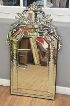 A LARGE VENETIAN GLASS DECORATIVE MIRROR WITH GLASS BEADING AND ETCHING (120 X 72CM)