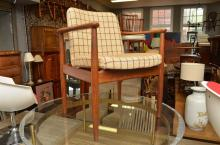 A 1960'S AUSTRALIAN HARDWOOD AND TEAK ARMCHAIR IN ORIGINAL UPHOLSTERY